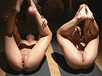 Flexible nude women do naked yoga exercises
