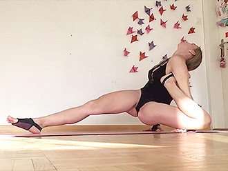Gymnast in bodysuit in webcam sexy yoga video