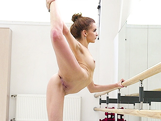 Naked ballerina does nude yoga workout