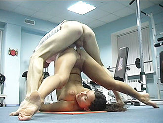 Naked yoga porn workout in the gym