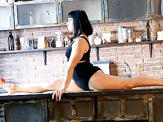 Sexy yoga performance in the kitchen