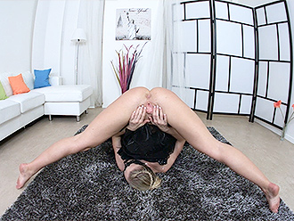 Masked naked ballerina in solo yoga porn video