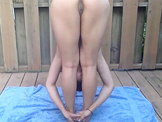Live cam porn video filmed while doing nude yoga practice outdoors