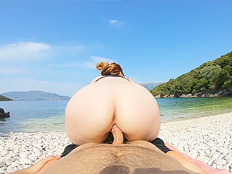 Shameless couple shoots yoga porn video at the public beach
