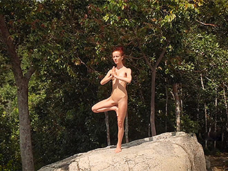 Nude yoga in the wilderness