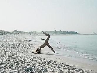 Naked yoga in public beach