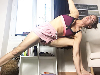 Sexy yoga and flexible MILF in kitchen