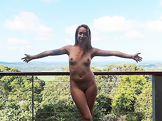 Naked yoga instructor: public reportage