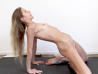 Naked skinny MILF explain nude yoga