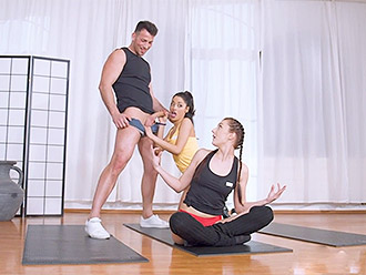 Naked yoga trainer organize hot group sex in this yoga porn video