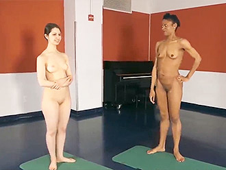 The teacher from naked yoga school very sexy and likes nude gymnastics as well