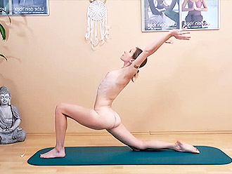 Skinny naked MILF teach you nude yoga