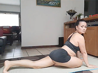 No pants yoga with sexy and hot Asian woman