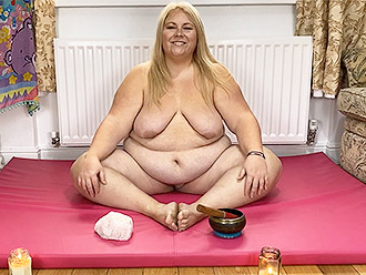 Nude yoga with a naked fat woman